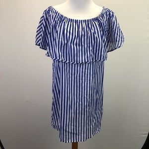 NEW J Crew Off Shoulder Bold Striped Dress F9038